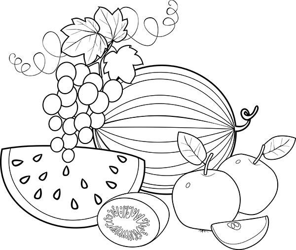 ягоды и фрукты раскраска для малышей